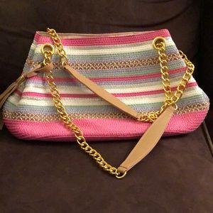 Striped pink multi-colored bag